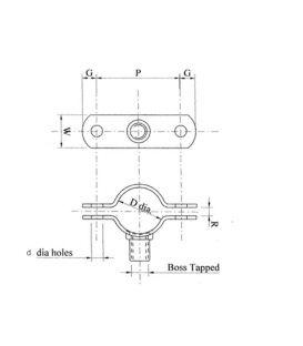 Galvanised Mild Steel Munsen type bossed pipe Pipe clip M10 boss for 50 NB Pipe (OD 61 mm)