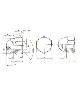 M5 Hexagon Dome Nut - A4 Stainless Steel DIN1587 5