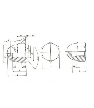 M6 Hexagon Dome Nut - A4 Stainless Steel DIN1587