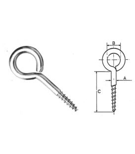 Eyelet Eyepin Screw - 36 x4 mm T304 (A2) Stainless Steel PTFE coated