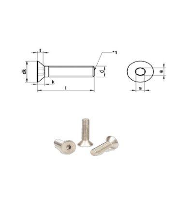 M6 x 80 mm Stainless Steel (A4) Countersunk Allen Socket Cap Screw DIN7991