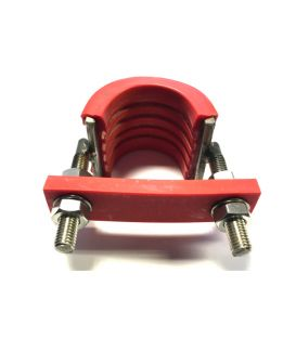 U-Strap T316 (A4) marine Grade Stainless Steel with Flame Retardant Rubber for 50 NB (60 mm Outside diameter) Pipe