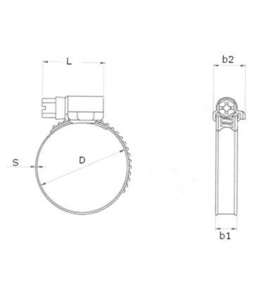 Stainless Steel jubilee type clip - worm gear - 60-80mm