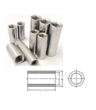 M8 x 35 mm Tiebar Connector - A2 (T304) Stainless Steel - Coupling Nut - Round