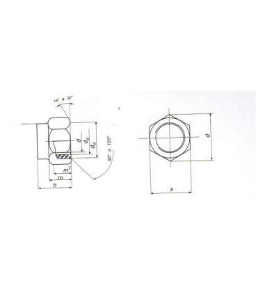 M12 Nylon insert lock nut Nyloc type - Bright Zinc Plated (BZP) DIN985