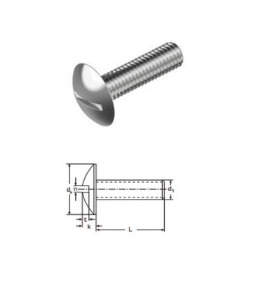 Mushroom Head Slotted Screws M8 x 60 mm A2 (T304) Stainless Steel