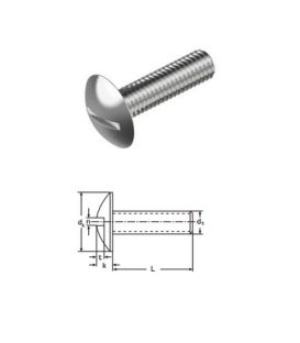 Mushroom Head Slotted Screws M4 x 40 mm A2 (T304) Stainless Steel