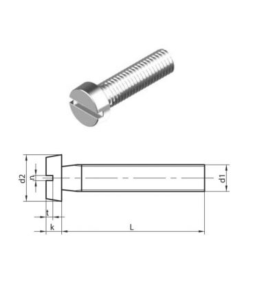 M3 x 16 mm Slotted Cheese head machine Screws (DIN 84) T304 (A2) Stainless Steel