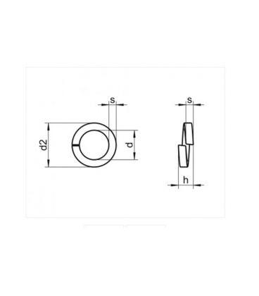 Spring Washer - Galvanised Mild Steel M16 DIN7980 5