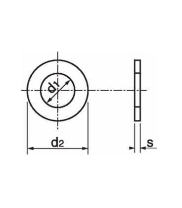M24 Flat Washer - Self Colour Mild Steel DIN125