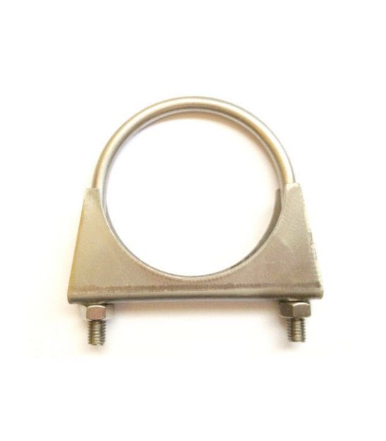 Universal Exhaust pipe clamp + U-bolt - 26 mm - T304 Stainless Steel - Extended length (8 mm longer)