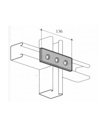 M12 Three Hole fixing Plate for Channels T304 Stainless Steel (As Unistrut / Oglaend)