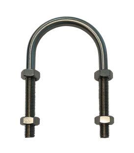 U-Bolt M6 x60mm Thread, 24mm Inside Diam, 77mm Inside Height BZP(Zinc Plated)