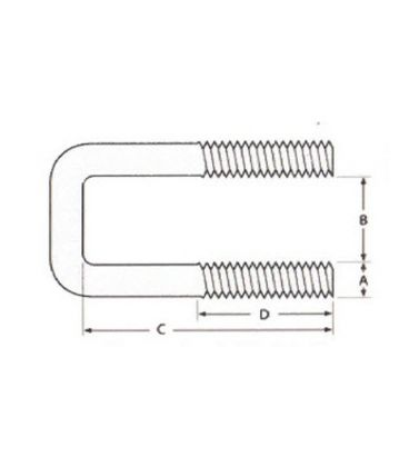 Square Bolt (C Bolt) M10 x 80 mm Thread, 70 x 140 mm Internal Dimensions - T304 Stainless Steel (A2)