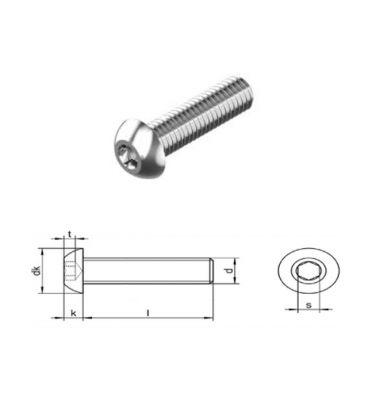 M4 x 30 mm Hexagon Socket Button Head Screws A4 (T316) Marine Grade Stainless Steel