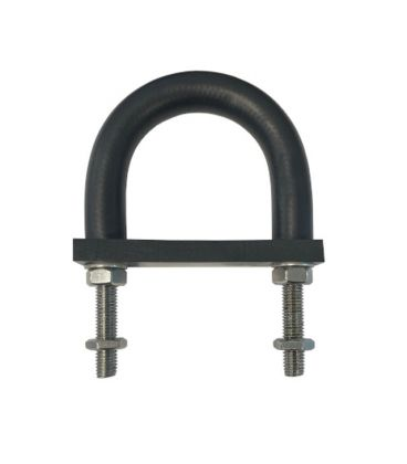 Insulating Rubber Lined U-bolt and Backing pad 81 mm ID (suit 65 mm NB pipe)-Galvanised