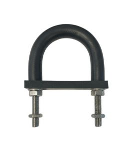 Insulating Rubber Lined U-bolt and Backing pad 29 mm ID (suit 20 mm NB pipe) - Zinc Plated Mild Steel