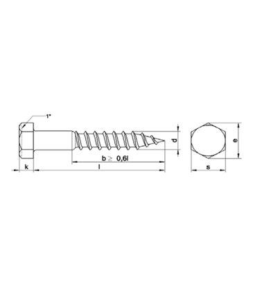 Hexagonal head woodscrew 5 x 50mm  (A4 stainless Steel) DIN571