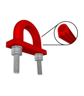 Light Duty Flame Retardant Anti-Vibration Rubber Lined U-bolt For British Standard Pipe