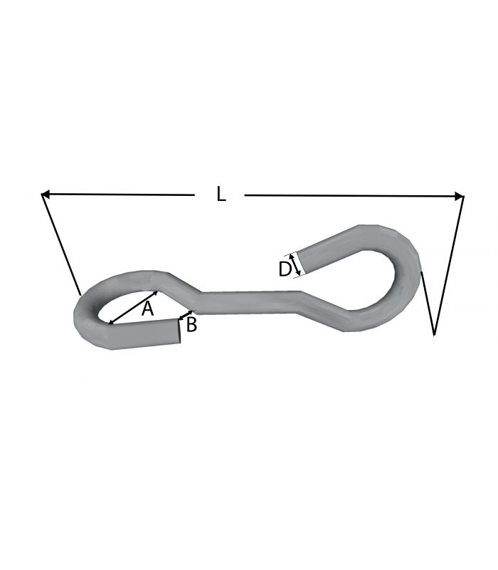 TWISTED S HOOK - 90 DEGREE MID BEND T316 (A4) MARINE GRADE STAINLESS STEEL