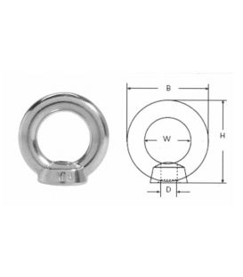 Eye / Ring / Lifting Nut T316 Stainless Steel (A4 marine Grade) DIN582