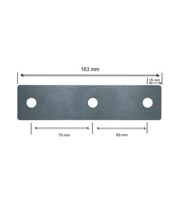 Three Hole Flat Plate - T304 Stainless Steel - 12 mm holes, 40*5*163mm plate