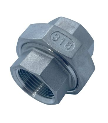 Conical Union BSP Female - Female A4 (T316) marine Grade Stainless Steel