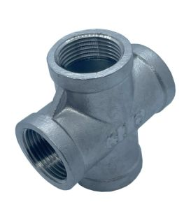 BSP Female Cross 4 Way Threaded Connector - A4 Grade Stainless Steel 150LB Pipe Fitting Parallel Threads (BSPP / G Thread)