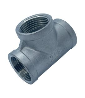 BSP Equal Tee Pipe Fitting - T316 (A4) Marine Grade Stainless Steel  - Parallel Threads (BSPP / G Thread)
