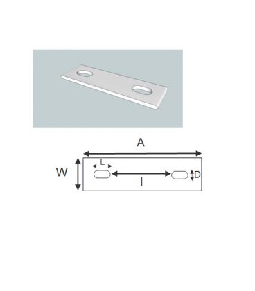 Slotted backing plate for M8 U-bolt (37 - 51 mm ID) T316 Stainless Steel