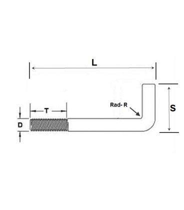 Foundation Bolt (Anchor or L-Bolt) M10 x 200 mm T316 (A4) Stainless Steel