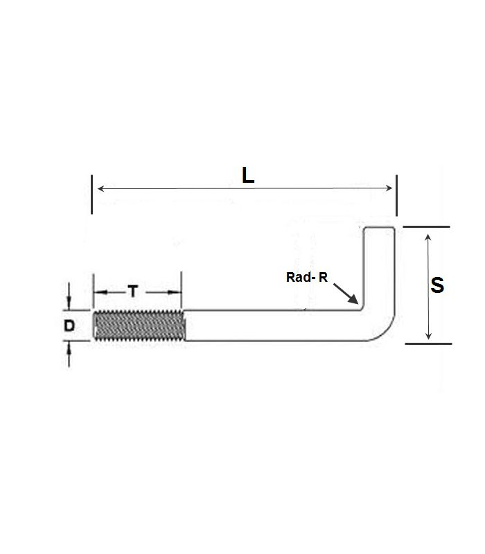 M6 x 150 mm T304 Stainless Steel Hook bolt Pack Size 1
