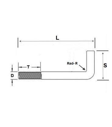 Foundation Bolt (Anchor or L-Bolt) M12 x 250 mm Galvanised Mild Steel