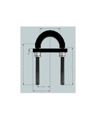 Light Duty High Temperature Flame Retardant Anti-Vibration Rubber Lined U-bolt 57 mm ID -T316 Stainless Steel
