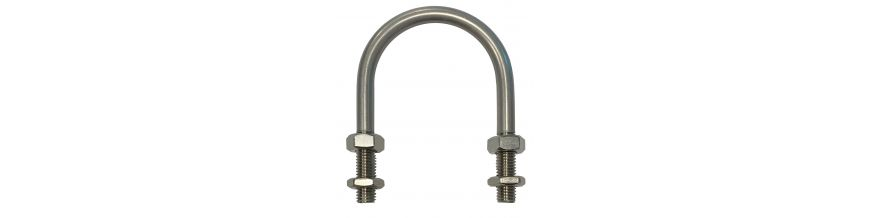 A range of U-bolts for clamping pipes, tubes, handrails and