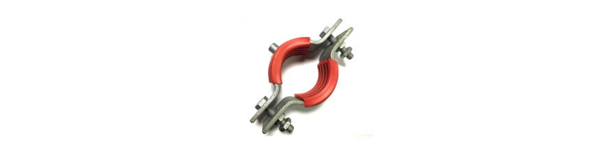 1205 Series - Heavy Duty Galvanised Bossed Pipe Clips with fire retardant rubber lining
