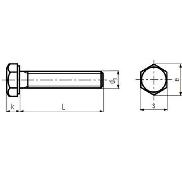 DIN 933 ISO 4017 and UNI 5739 Hexagon head Setscrew Schematic